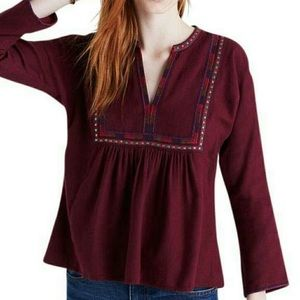 Madewell Java embroidered boho popover top L